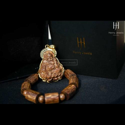 Mặt Phật di lặc Sánh chìm nước dầu Vàng Bọc Vàng 18K