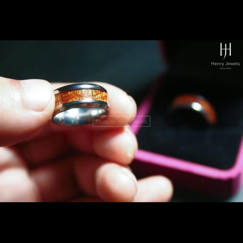 Nhẫn Titanium bọc Sưa không họa tiết