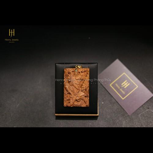 Mặt Tượng Quan Công Sưa Đỏ Quảng Bình Đính Khoen Vàng 10K