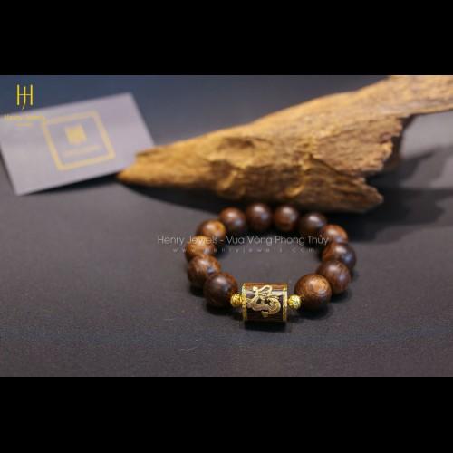 Vòng Trầm Hương Sánh Chìm Mix Đốt Trúc Bọc Vàng 18K Bản Đặc Biệt Gắn Rồng Vàng