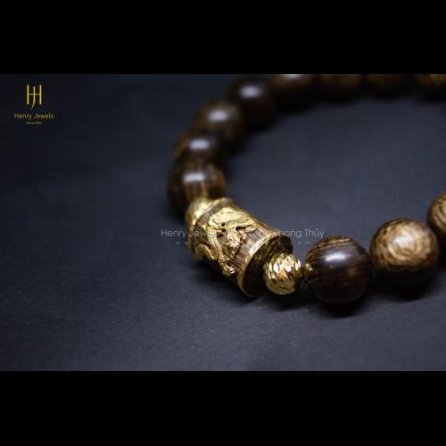 Vòng Trầm Hương Sánh Chìm Mix Đốt Trúc Bọc Vàng 10K Gắn Rồng Vàng