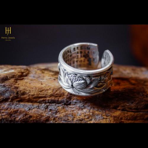 Nhẫn Bạc Thái Khắc Chú Họa Tiết Hoa Sen