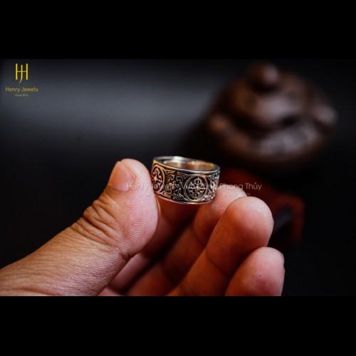 Nhẫn Bạc Thái Khắc Chú Chùy Kim Kang
