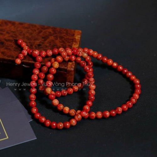 Vòng san hô đỏ 108 hạt 6mm