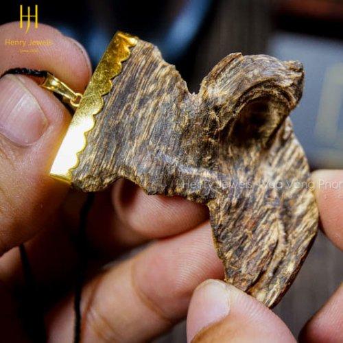 Mặt Kỳ Hổ KH-01 size lớn mix khoen vàng 10K