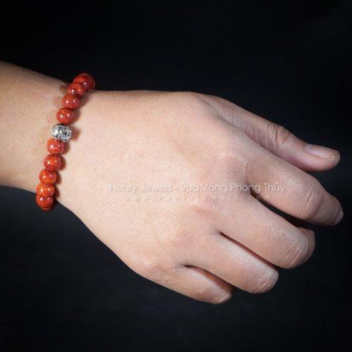 Vòng tay san hô đỏ mix charm bạc