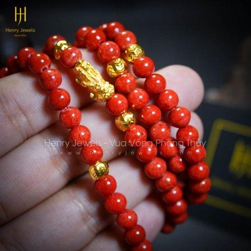 Tràng Hạt San Hô Đỏ Indonesia Mix Charm Vàng 24K