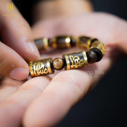 Vòng Trầm Sánh Chìm Nước Dầu Vàng Bọc Chữ Phúc - Lộc - Thọ Vàng 18K