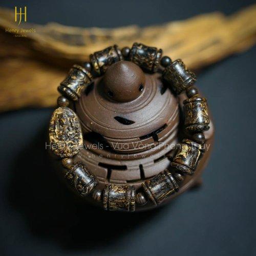 Vòng Trầm Hương Sánh Chìm Vân Xoáy Đốt Trúc Phật Bà Mix Mặt Phật