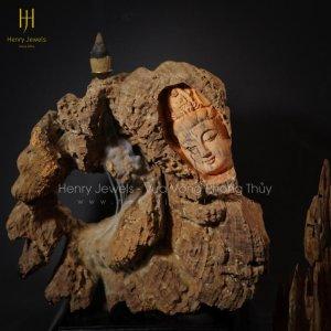 Diện Phật Xông Trầm Gỗ Hương Để Bàn TG0003 Size 27cm x 30cm