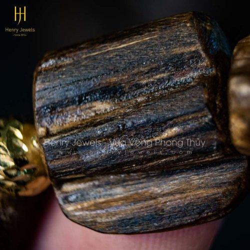 Trầm Hương Núi Rin Dầu Đặc Nổi MS T.R158 Mix Bi Vàng 10K