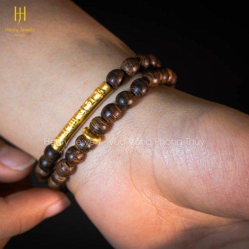 Tràng hạt Trầm Hương Sánh chìm nước dầu vàng 6mm mix charm cành trúc khắc chú + khoen vàng 24K