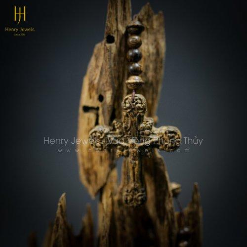 Chuỗi tràng hạt Trầm sánh chìm dầu vàng Thánh giá Thiên Chúa Giáo