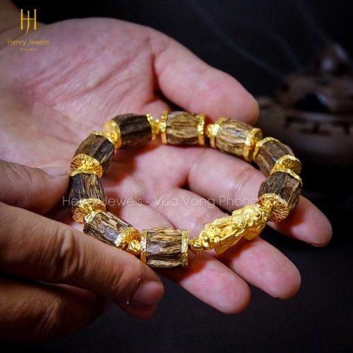 Trầm sánh chìm nước dầu vàng dáng rục bọc vàng bản đặc biệt