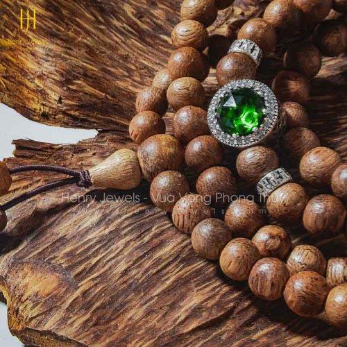 Vòng Tràng Hạt Trầm Hương Tốc Lào 108 hạt mix charm S925 MS01