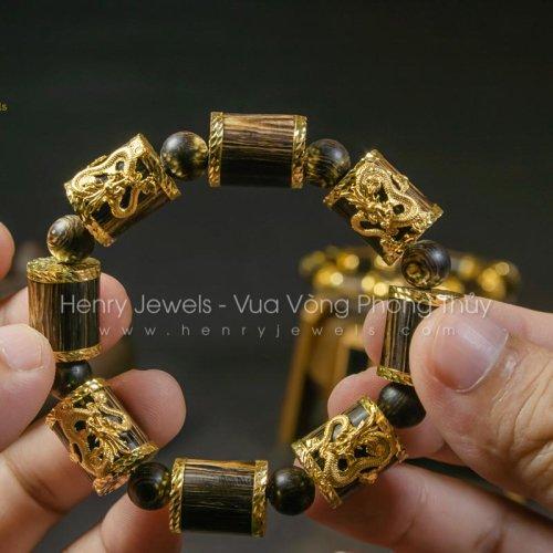 Vòng Trầm Hương Sánh Chìm Nước Dầu Vàng Đốt Trúc Bọc Vàng 10K Bản Đặc Biệt + 4 Rồng Vàng 10k