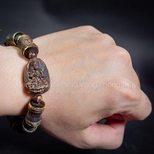 Vòng Trầm Hương Sánh Chìm Nước Dầu Vàng Đốt Trúc Phật Bà Bọc Vàng 10K Mix Mặt Phật