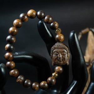 Vòng tay mix Diện Phật trầm sánh chìm nước dầu vàng